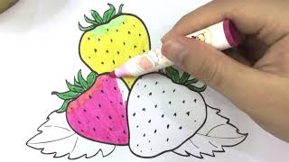 How To Paint Strawberries Coloring Book for Kids Learning Colouring Videos 1