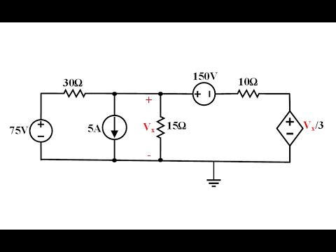 Devre Teorisi Ders 37 Süperpozisyon Yöntemi Bağımlı Kaynaklı Örnek (Dependent Source)