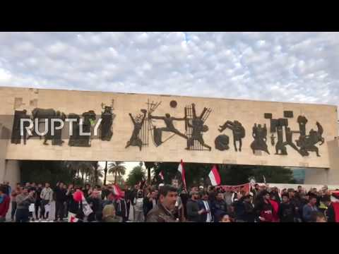 Iraq: Celebrations at Baghdad's Liberation Square following IS defeat