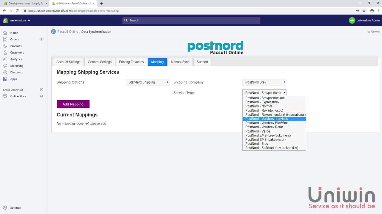 Shopify-Pacsoft-Online – Uniwin