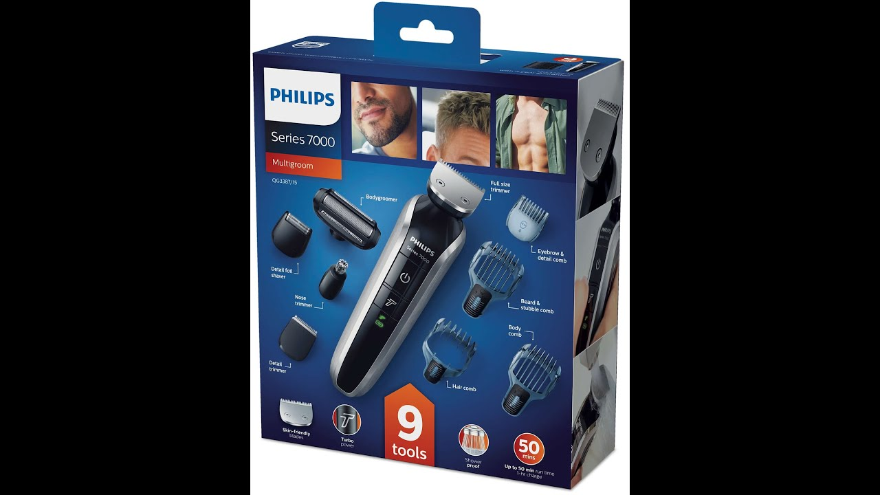 philips new grooming kit 2016 qg3387 15 multigroom series 7000 9 in 1 head to toe trimmer. Black Bedroom Furniture Sets. Home Design Ideas