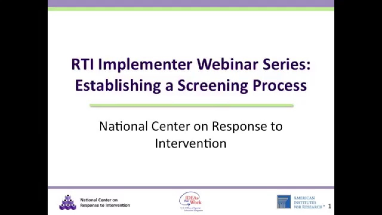 Implementer Series: Establishing a Screening Process