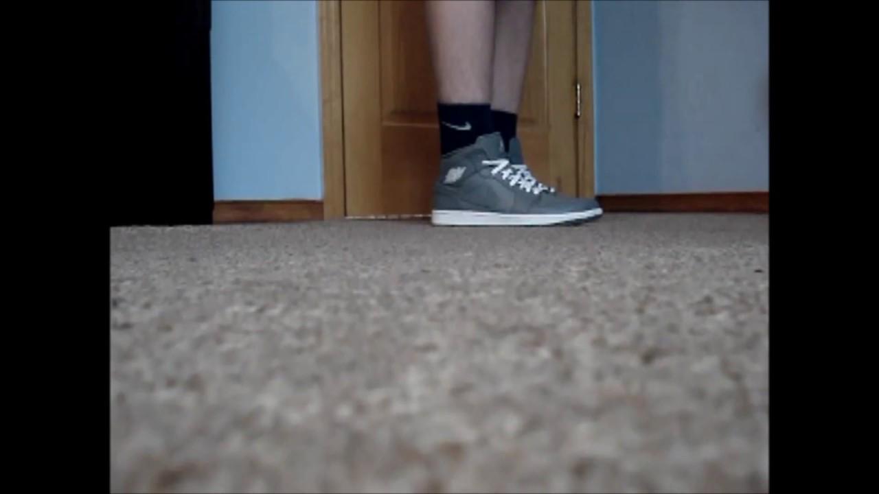 air jordan 1 mid cool grey on feet