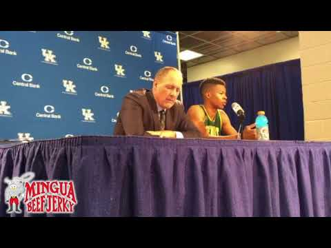 Vermont Head Coach John Becker and Guard Trae Bell-Haynes post Kentucky