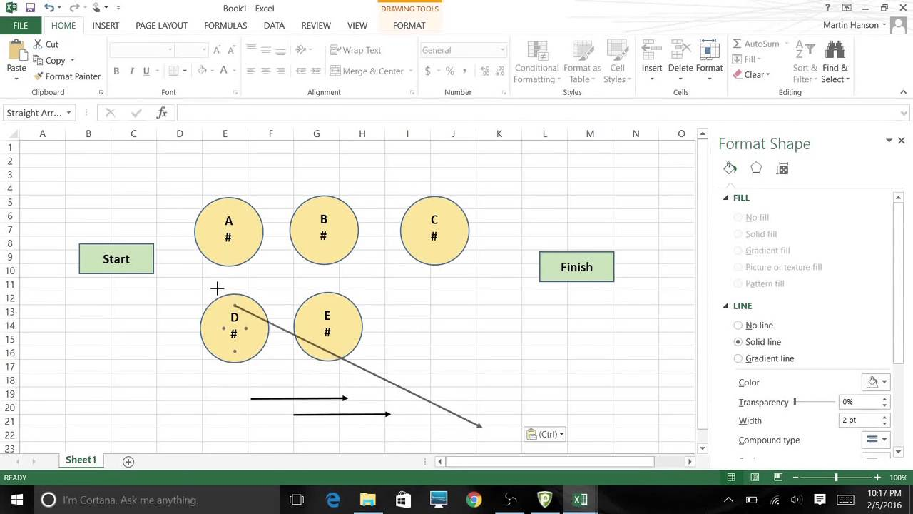 Using Excel 2013 Graphic Tools to Create Network Diagrams