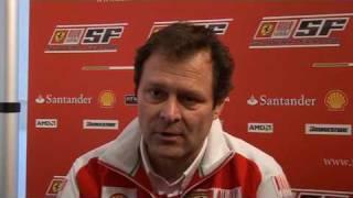 Test a Valencia della Ferrari F10: Intervista ad Aldo Costa