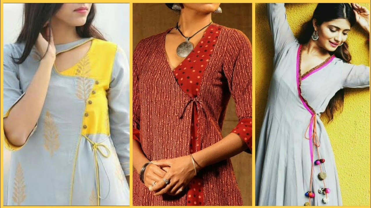 30 New Beautiful Angrakha Style Kurti Neck Design For Casual Party Wear Dresses Mizfoxtv