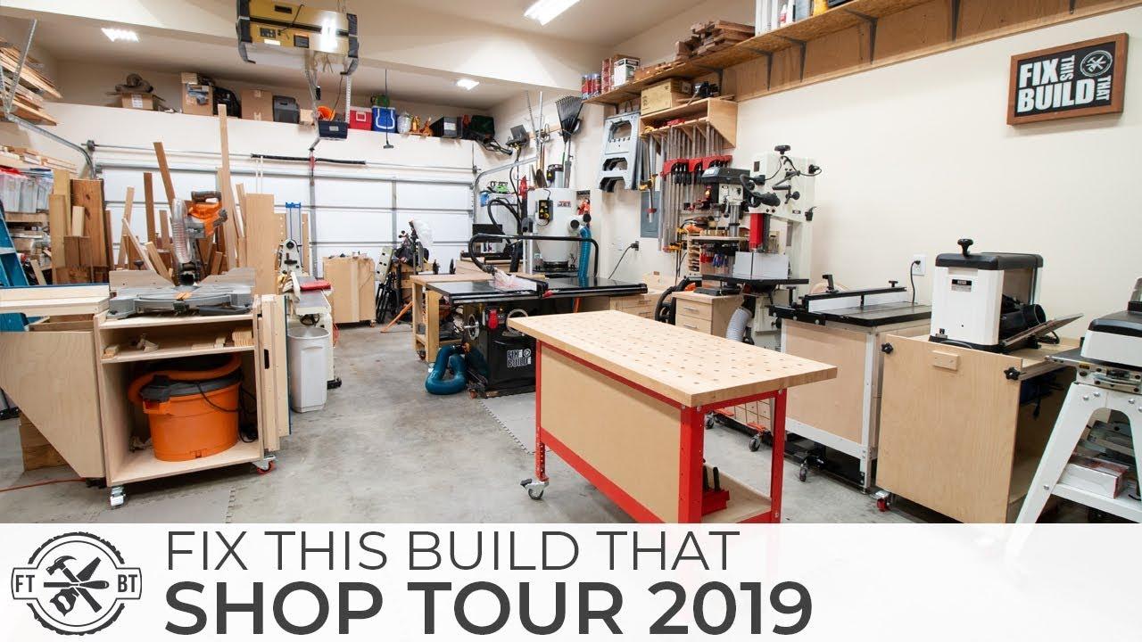 Woodworking Shop Tour 2019 2 Car Garage Workshop Youtube