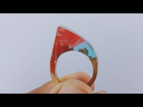 How To Make DIY Red and Blue Resin Ring From Epoxy Resin And Wood | Resinart | Resin craft ideas