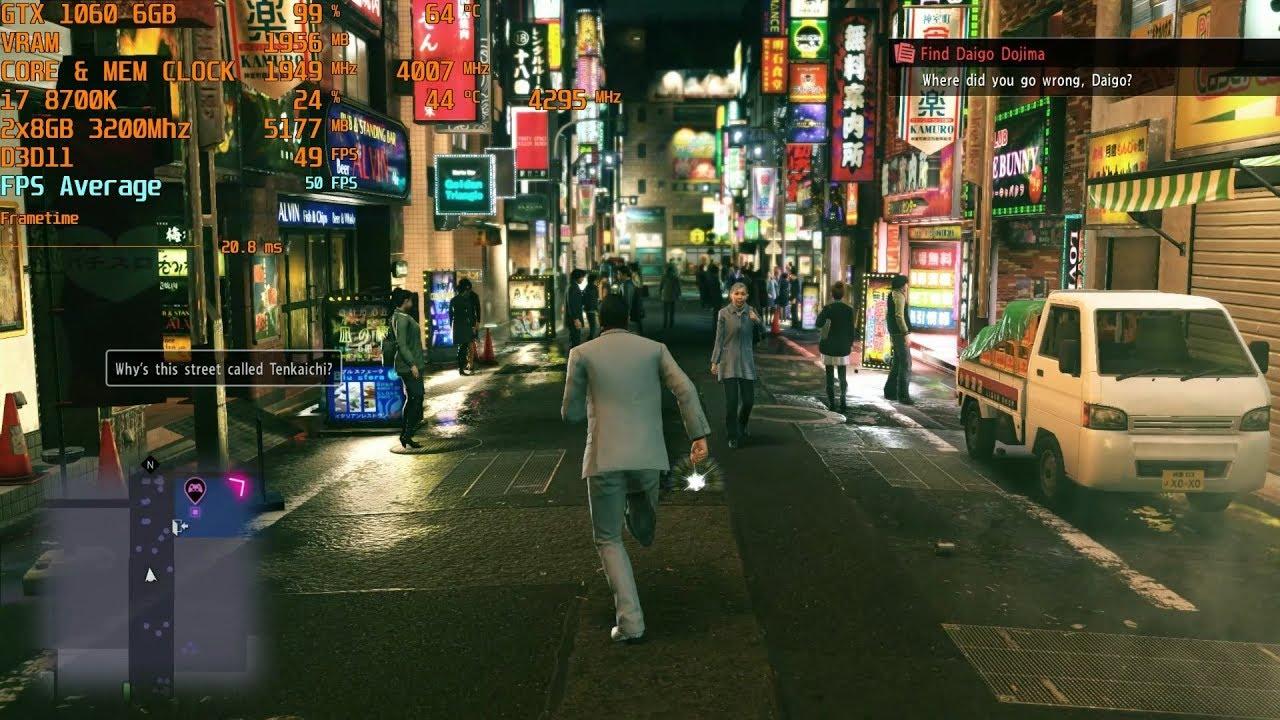 Yakuza Kiwami 2 - Max Settings - GTX 1060 6GB | i7 8700k (stock) [1080p]
