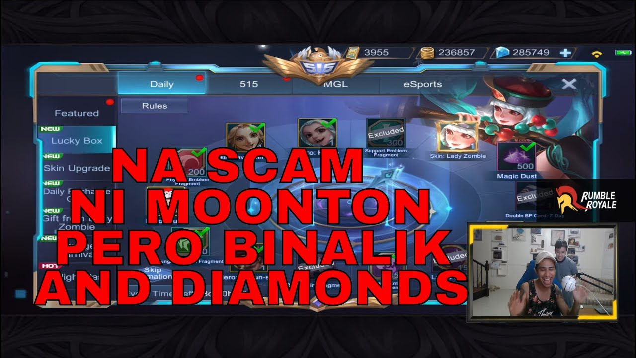 NA SCAM PERO NA BALIK AND DIAMONDS - 1000 DIAMONDS GIVEAWAY - MOBILE LEGENDS - RUBY SKIN EPIC