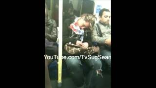 Sleepy LONDON woman snuggles up to total stranger |Tube Snuggle | #MindTheNap | @SugSean