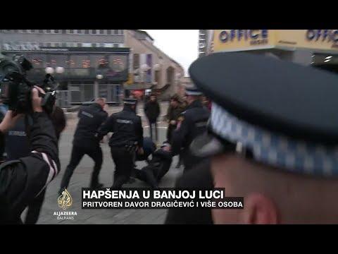 Scene hapšenja na Trgu Krajine u Banjoj Luci