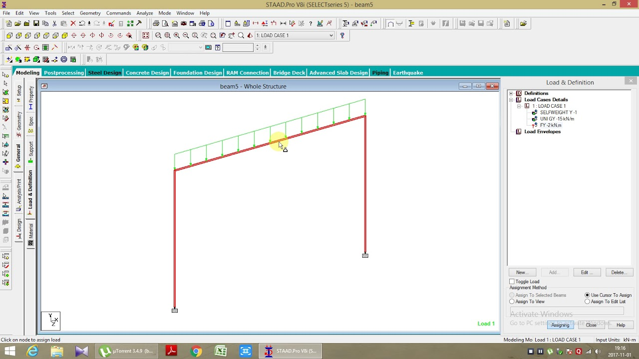 DESIGN & ANALYSIS OG A RCC PORTAL FRAME USING STAAD PRO. - YouTube