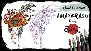How to draw AMATERASU from ŌKAMI - Mink