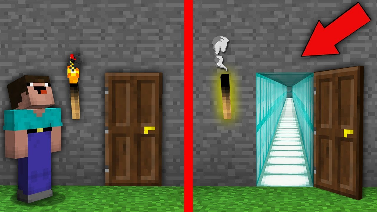 Minecraft, NOOB PUT OUT TORCH TO OPEN THIS SUPER STRANGE DOOR! Challenge 100% trolling