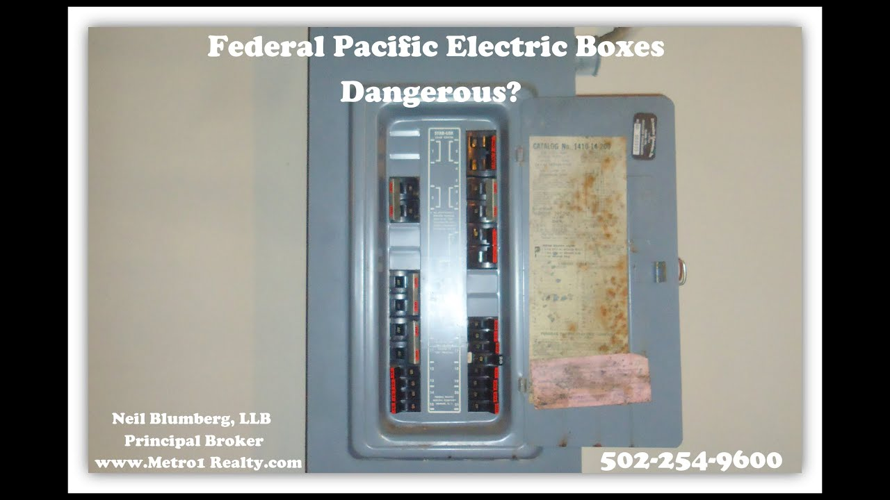Electrical Panel Hazards Front Steering Diagram Federal Pacific Electric Boxes Fire Hazard Enhanced