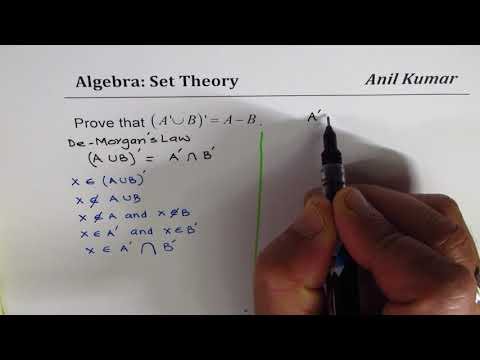 Prove (A' U B)' = A - B  relate Complement of sets with difference Set