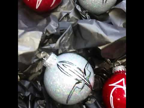 Red and silver holographic metal flaked ornaments with old school pinstriping