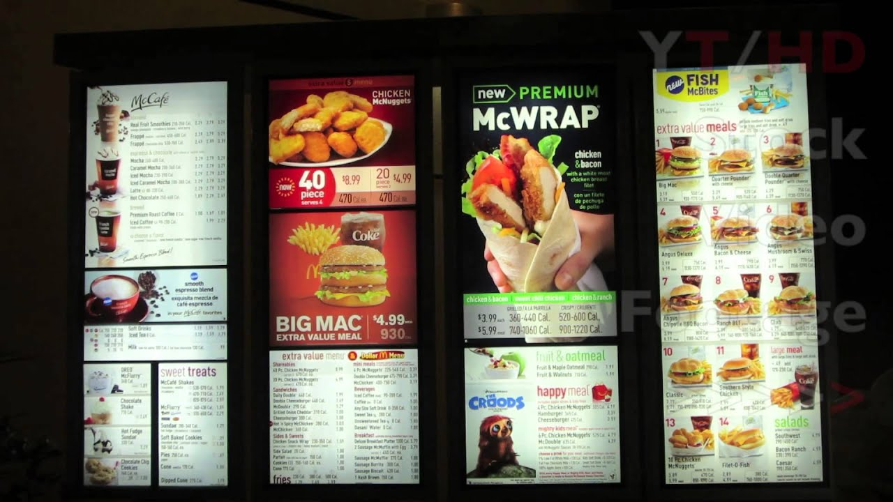 Mcdonalds drive thru w fast food menu window at late for Max fish menu