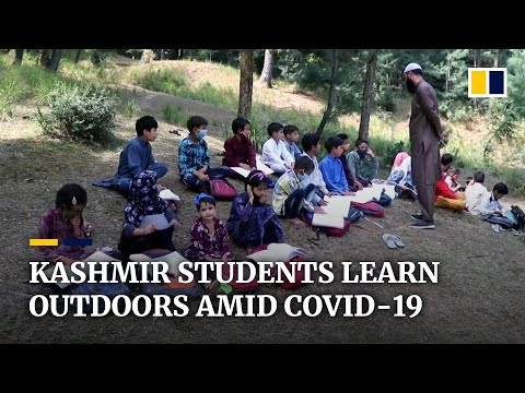 Kashmir village offers open-air classes as pupils struggle to learn online amid pandemic