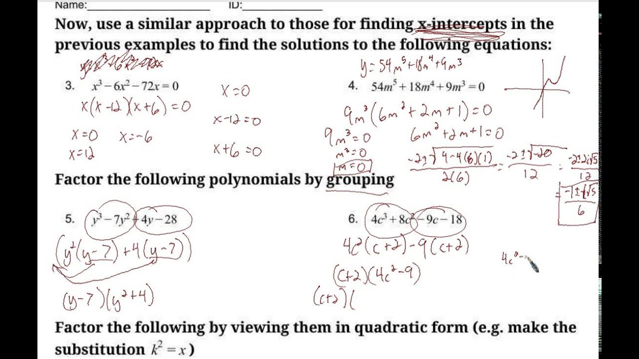 Worksheets Solving Equations By Factoring Worksheet solving polynomial equations worksheets youtube