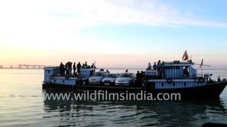 Vehicles loading and unloading on boat in Arunachal Pradesh thumbnail