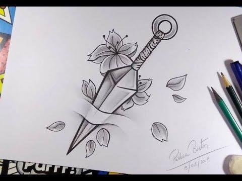 Como Desenhar Uma Kunai Estilo Tattoo Passo A Passo Youtube