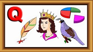 """How to Draw for Kids  Step by step Drawing and Coloring Learn Words with Alphabet """"Q""""  Lotusbaby TV"""