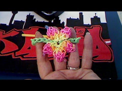 rainbow loom francais bracelet fleur hibiscus (loom band) - youtube