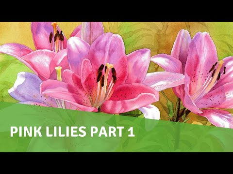 Watercolor Painting Demo - Pink Lilies - PART 1