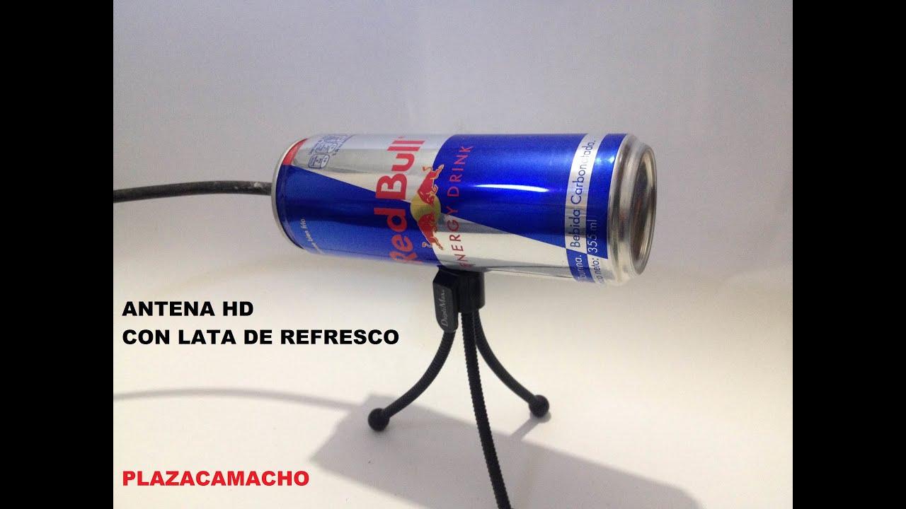 Antena hdtv con una lata de redbull facil de hacer for Antenas de tv interiores