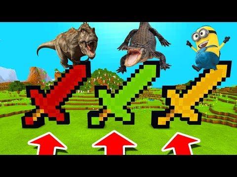 Minecraft PE : DO NOT CHOOSE THE WRONG SWORD! (Tyrannosaurus, Alligator & Minion) thumbnail