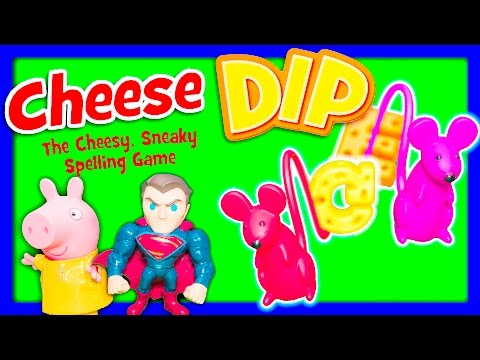 CHEESE DIP Spelling Game Peppa Pig Plays Superman TheEngineeringFamily Funny Kids Toys Video