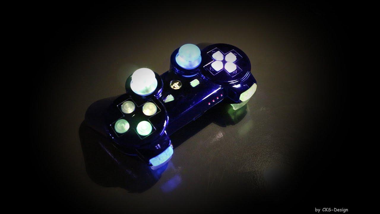 Custom ps3 controller blue chromed rainbow by cks design for Fond ecran ps3