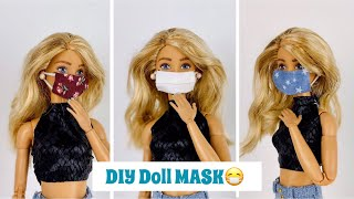DIY Barbie Doll Face Mask😷 + How To Put Them On Your Doll! (Surgical Mask)