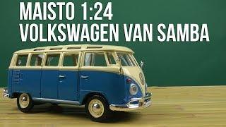 Розпакування Maisto 1:24 Volkswagen Van Samba 31956 blue сгеам