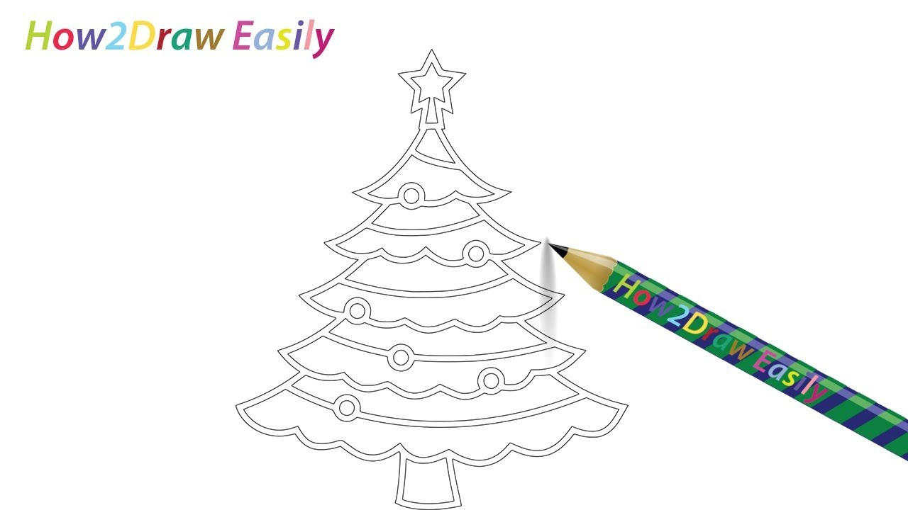 how to draw a christmas tree easy drawing step by step