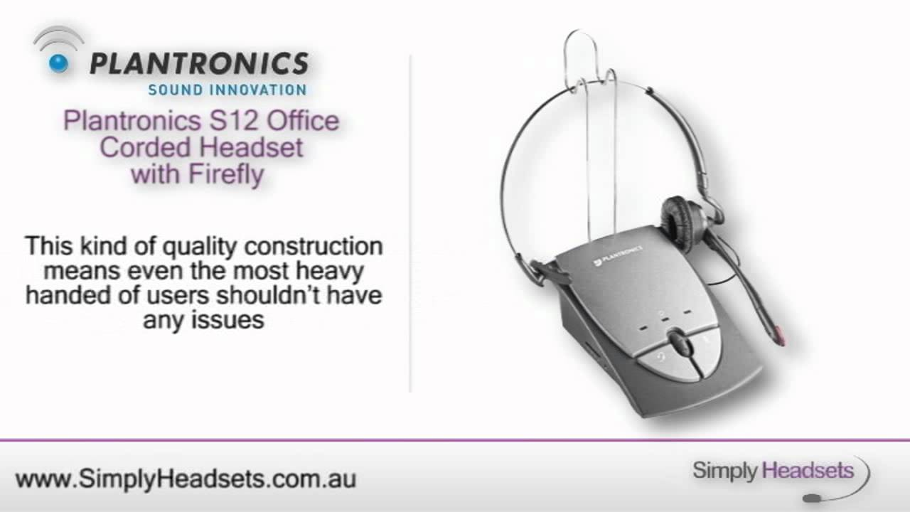 41b3a46ae60 Plantronics S12 Office Corded Headset with Firefly Video Overview ...