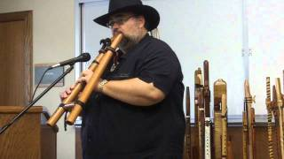 Native American style Drone Flute, Wandering Bear Mark plays double flute 2011