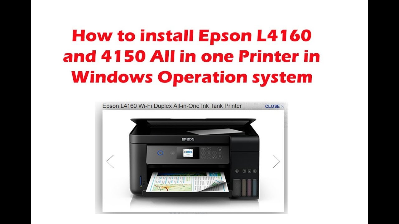 How to install Epson L4160 and 4150 All in one Printer in Windows Operation  system