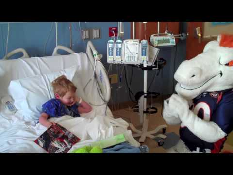 Broncos mascot Miles visiting young patients at the Rocky Mountain Hospital for Children at P/SL
