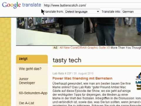 Translating web pages with Google Translate