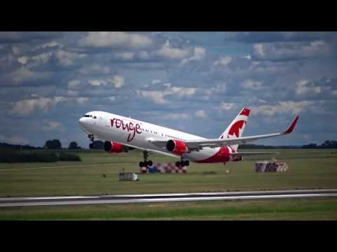 Air Canada Rouge Boeing 767-333ER Takeoff at Budapest Airport