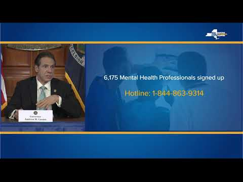 Gov. Andrew Cuomo discusses the state's new mental health hotline, which will be staffed by 6,000 volunteers.