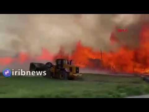 آتش سوزی مهیب در نیروگاه بیوانرژی ترکیه