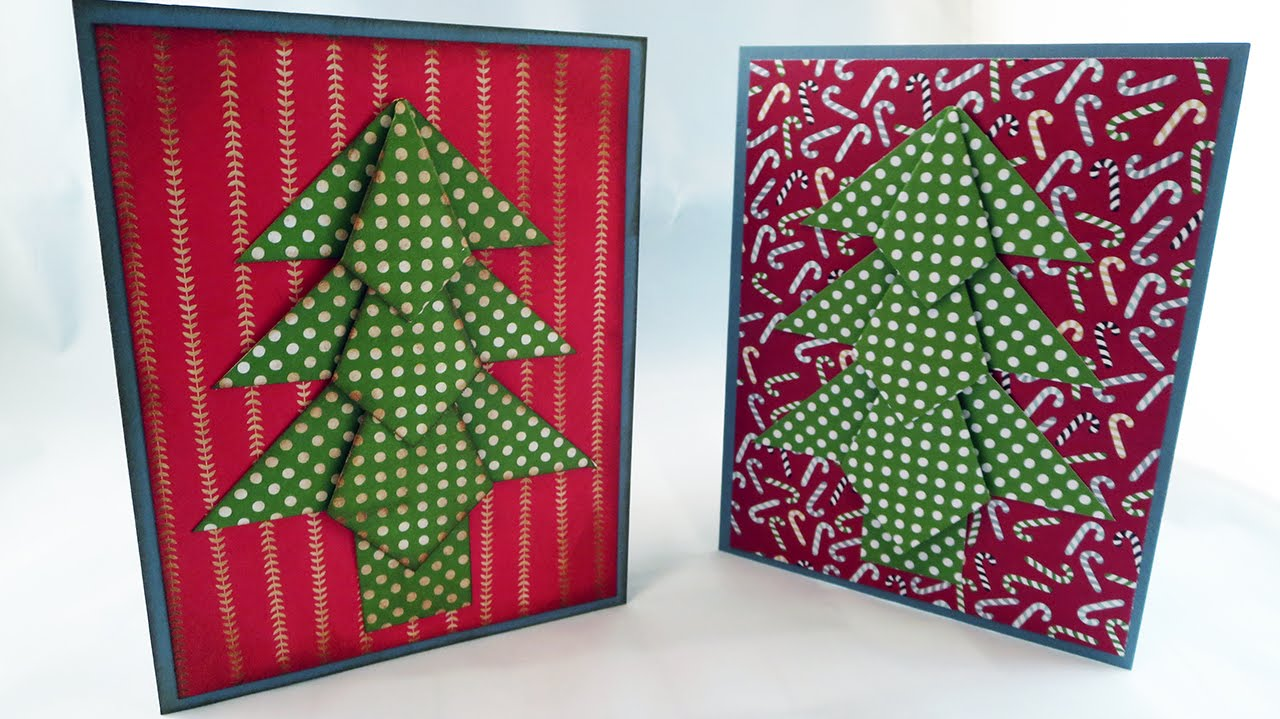 Origami christmas tree card tutorial youtube for How to make folded christmas cards