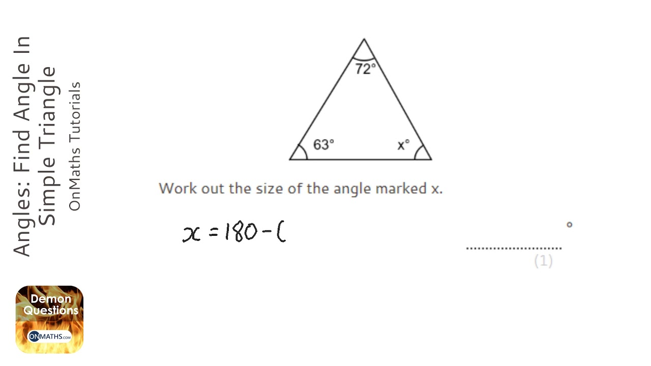 Angles: Find Angle In Simple Triangle (Grade 2) - OnMaths GCSE Maths  Revision