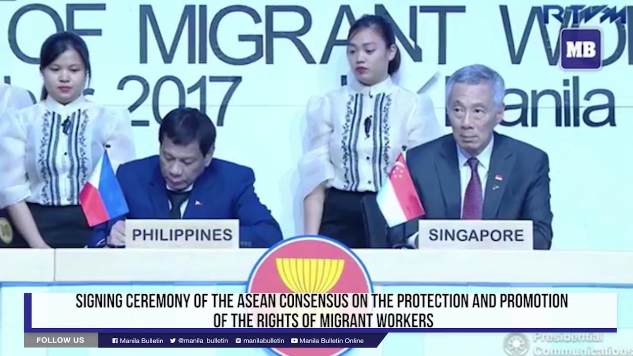 Signing ceremony of ASEAN Leaders regarding protection and rights of migrant workers