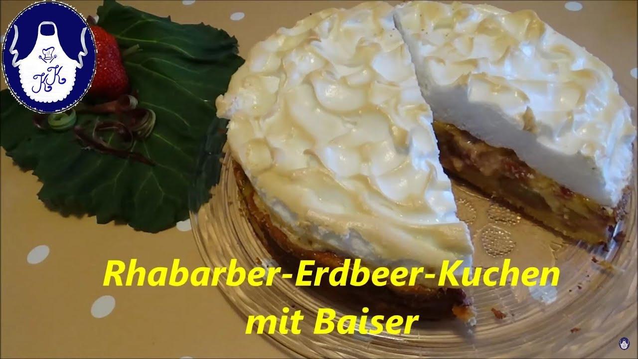 Rhabarber Erdbeer Kuchen Mit Baiser Youtube